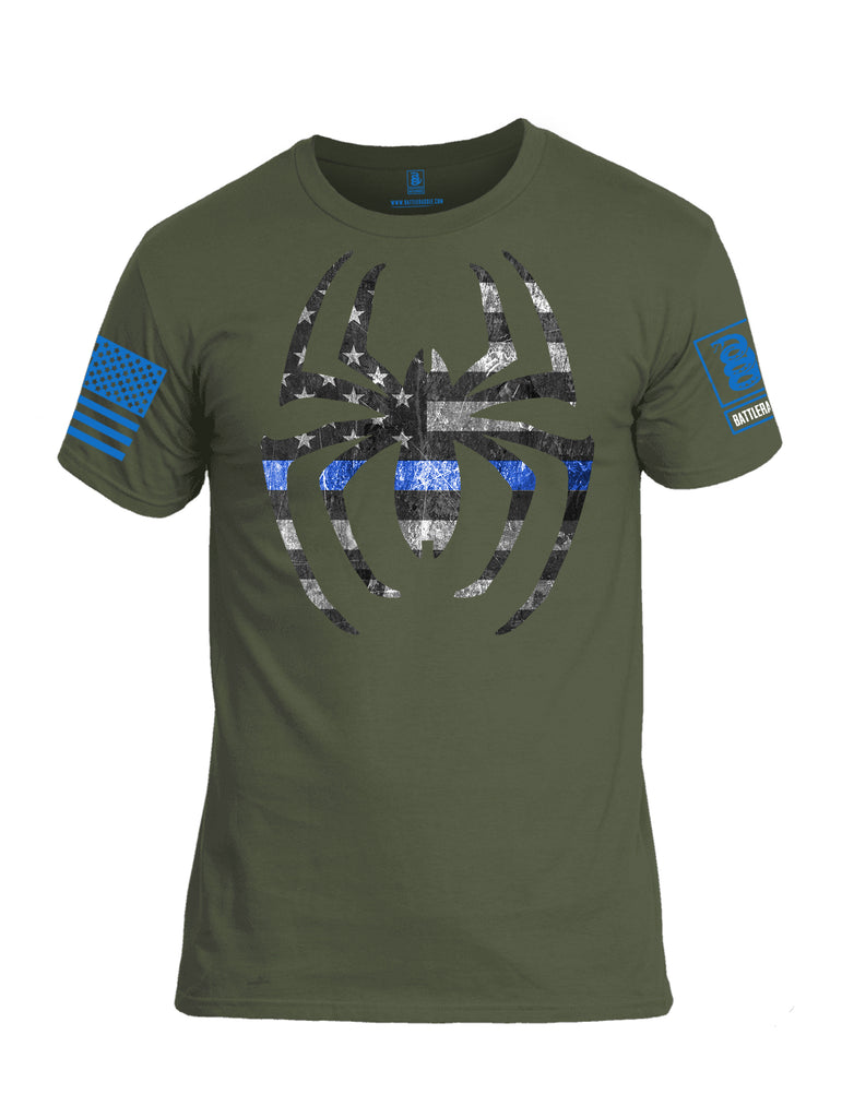 Battleradlde Webman Blue Line Blue Sleeve Print Mens Cotton Crew Neck T Shirt-Military Green