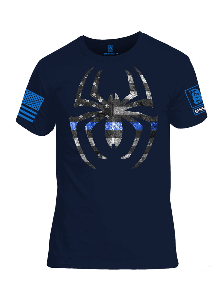 Battleradlde Webman Blue Line Blue Sleeve Print Mens Cotton Crew Neck T Shirt-Navy Blue