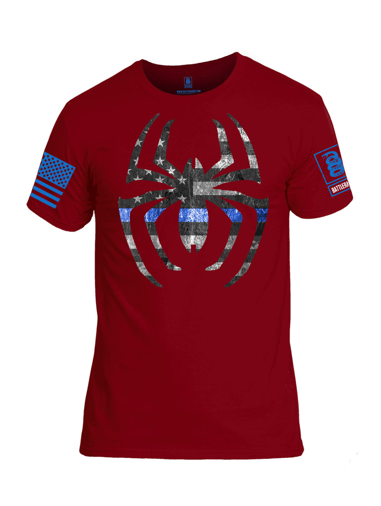Battleradlde Webman Blue Line Blue Sleeve Print Mens Cotton Crew Neck T Shirt-Red