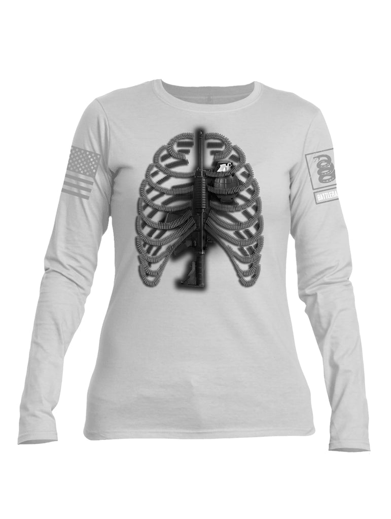 Battleraddle Bullet Ribs Gun Spine Grenade Heart Grey Sleeve Print Womens Cotton Long Sleeve Crew Neck T Shirt