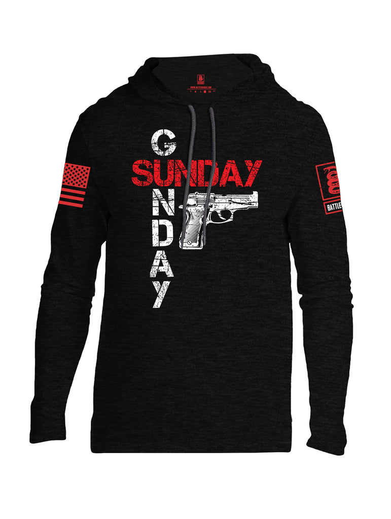 Battleraddle Sunday Gunday Red Sleeve Print Mens Thin Cotton Lightweight Hoodie