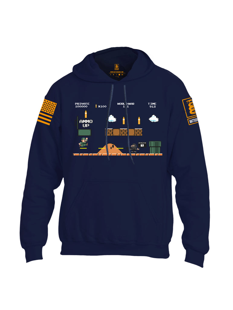 Battleraddle Super Battle Bros Ammo Up Orange Sleeve Print Mens Blended Hoodie With Pockets