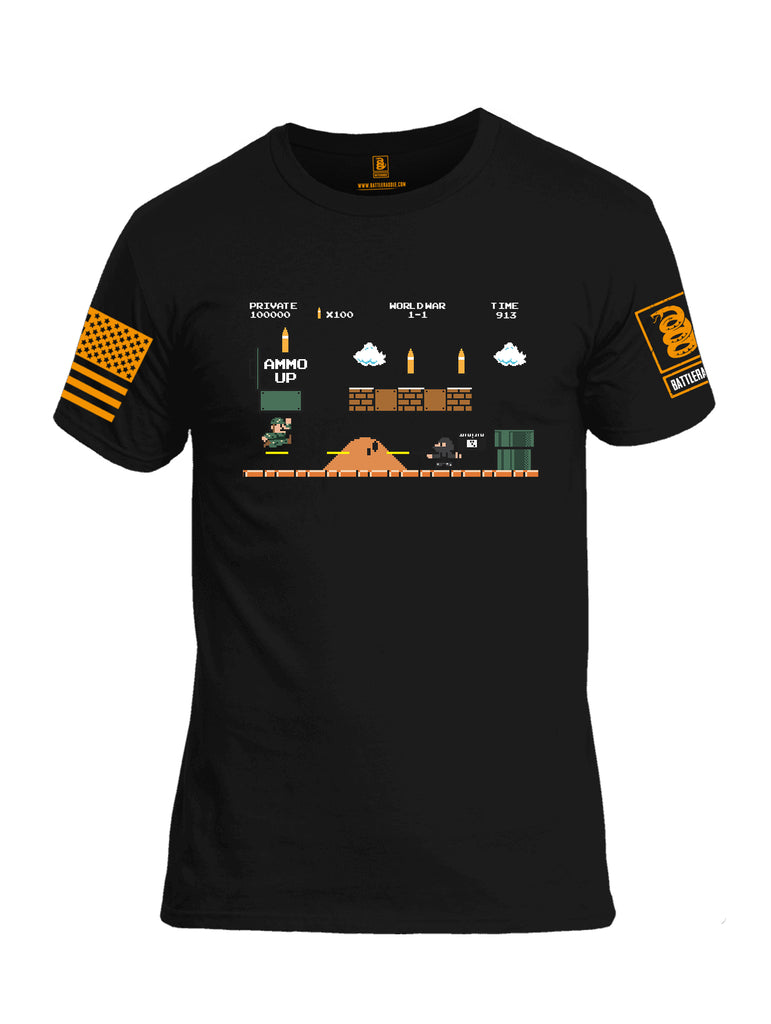Battleraddle Super Battle Bros Ammo Up Orange Sleeve Print Mens 100% Battlefit Polyester Crew Neck T Shirt