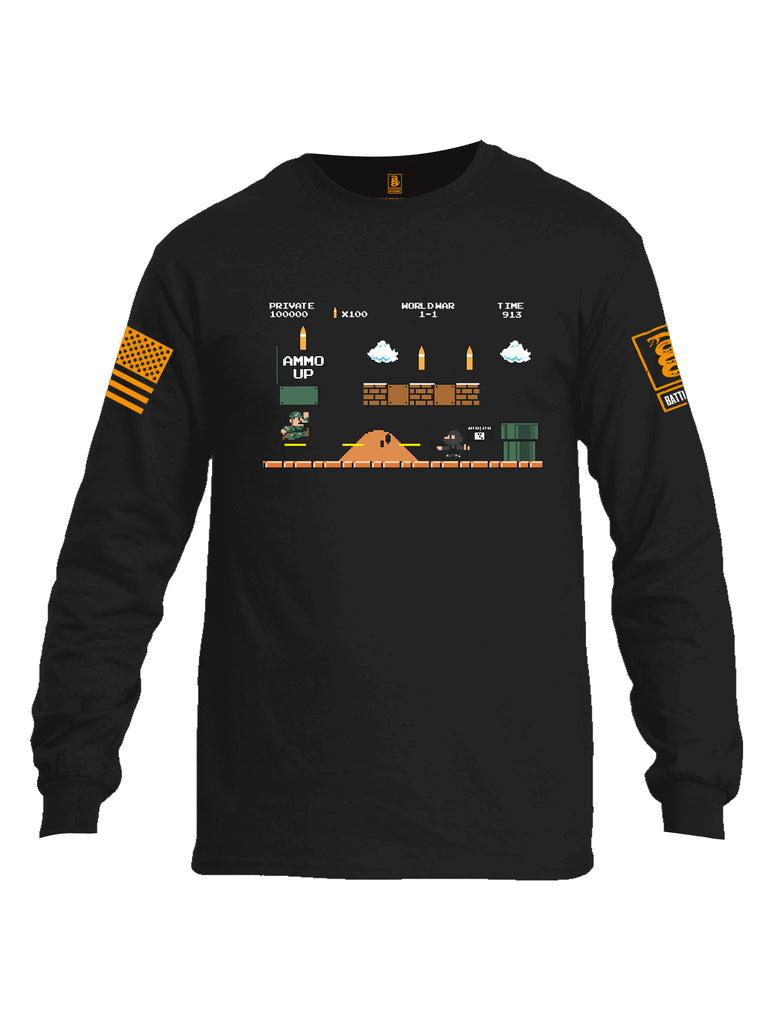 Battleraddle Super Battle Bros Ammo Up Orange Sleeve Print Mens Cotton Long Sleeve Crew Neck T Shirt