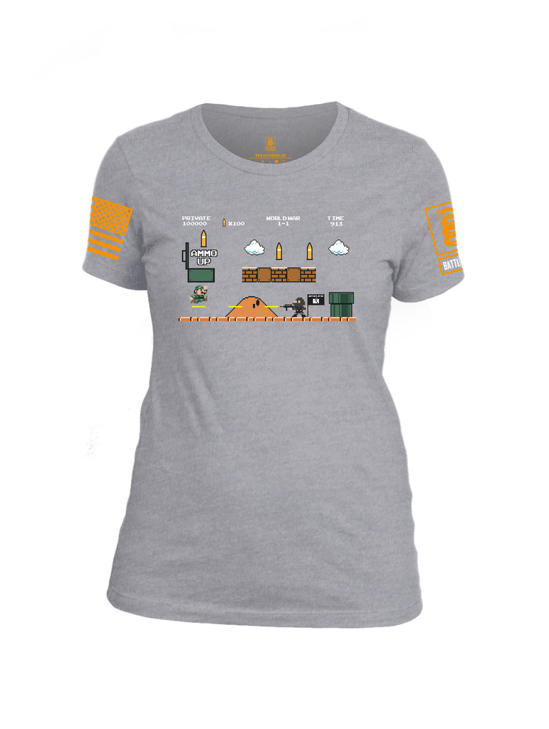 Battleraddle Super Battle Bros Ammo Up Orange Sleeve Print Womens Cotton Crew Neck T Shirt