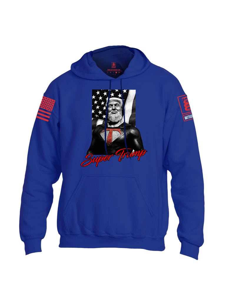 Battleraddle Bearded Super Trump Red Sleeve Print Mens Blended Hoodie With Pockets