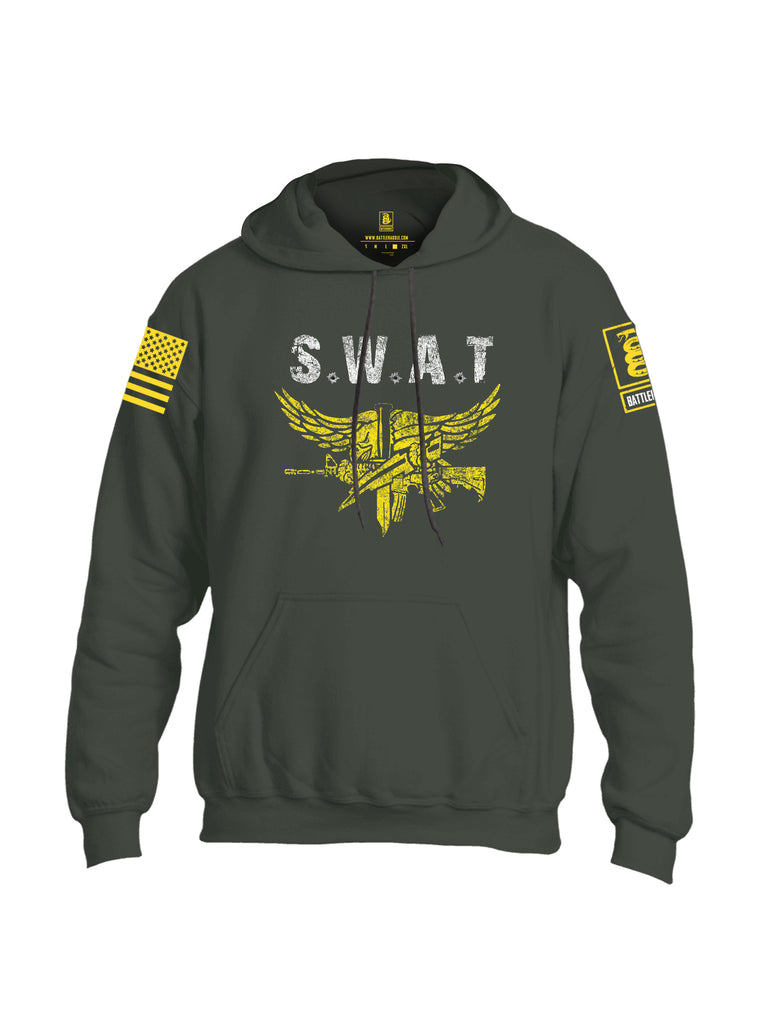 Battleraddle SWAT Yellow Sleeve Print Mens Blended Hoodie With Pockets