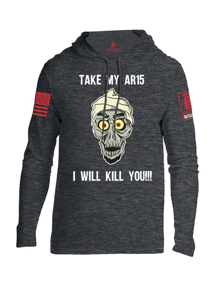 Battleraddle Take My AR15 I Will Kill You Red Sleeve Print Mens Thin Cotton Lightweight Hoodie