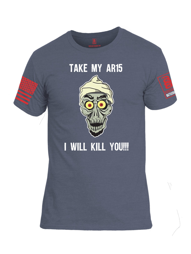 Battleraddle Take My AR15 I Will Kill You Red Sleeve Print Mens Cotton Crew Neck T Shirt