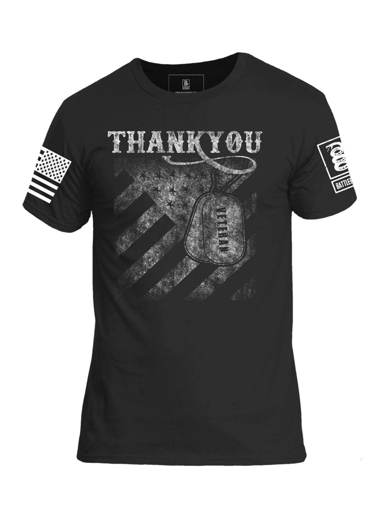 Battleraddle Thank You Veteran White Sleeve Print Mens Crew Neck Cotton T Shirt