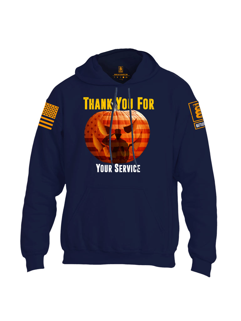 Battleraddle Thank You For Your Service USA Flag Pumpkin Orange Sleeve Print Mens Blended Hoodie With Pockets