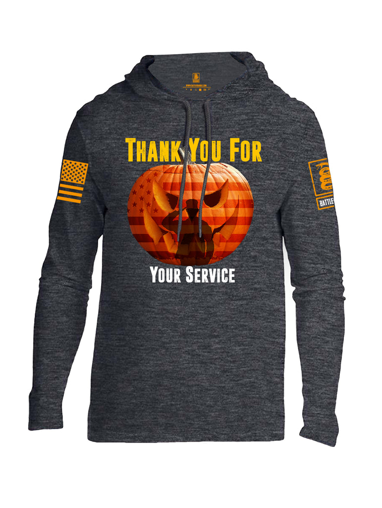 Battleraddle Thank You For Your Service USA Flag Pumpkin Orange Sleeve Print Mens Thin Cotton Lightweight Hoodie