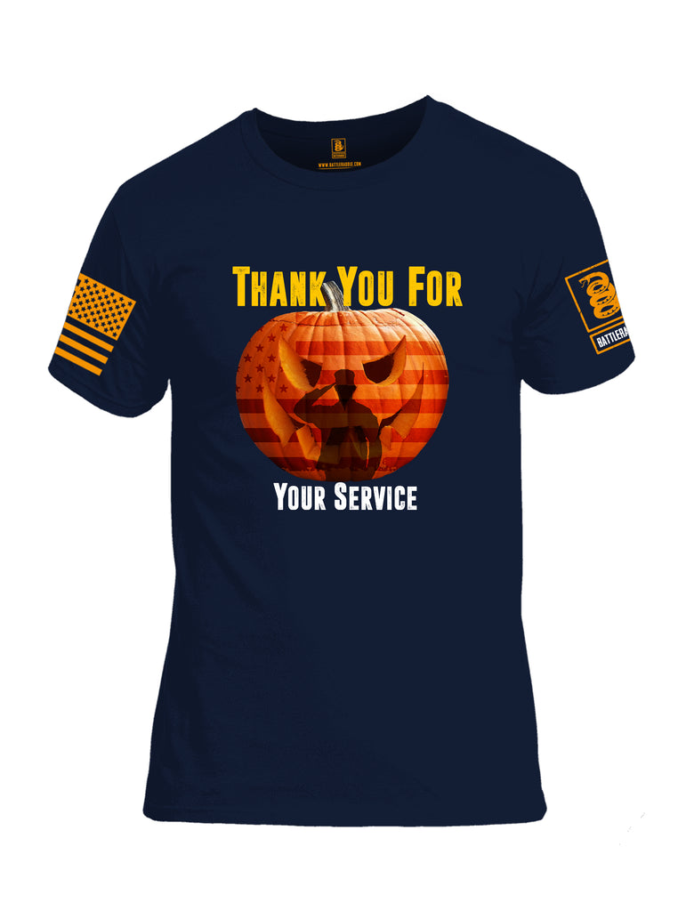 Battleraddle Thank You For Your Service Orange Sleeve Print Mens Cotton Crew Neck T Shirt