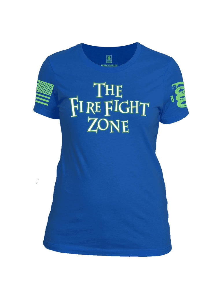 Battleraddle The Fire Fight Zone Green Sleeve Print Womens Cotton Crew Neck T Shirt