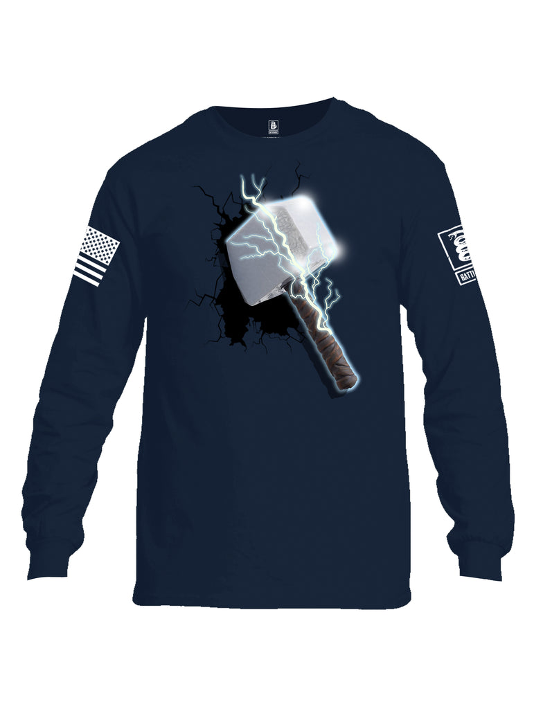 Battleraddle Thorific Hammer White Sleeve Print Mens Cotton Long Sleeve Crew Neck T Shirt