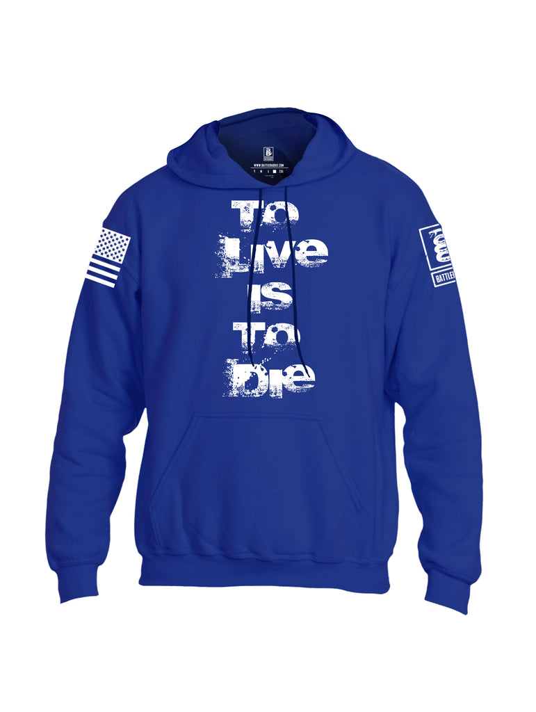 Battleraddle To Live Is To Die White Sleeve Print Mens Blended Hoodie With Pockets