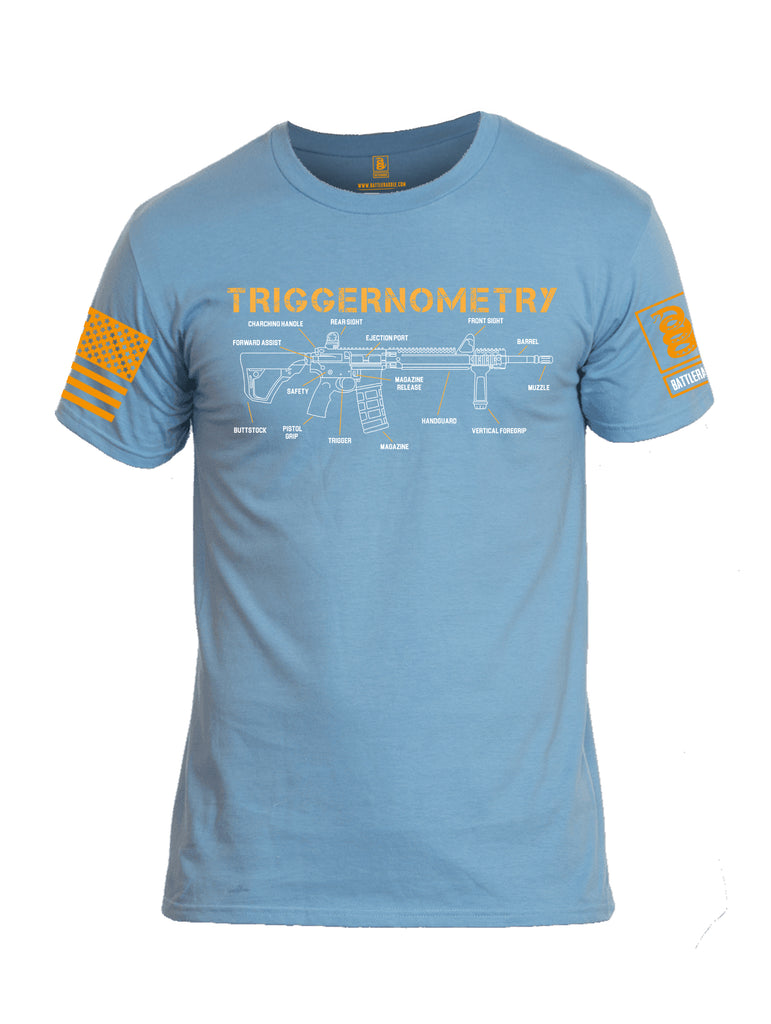 Battleraddle Triggernometry Orange Sleeve Print Mens Cotton Crew Neck T Shirt