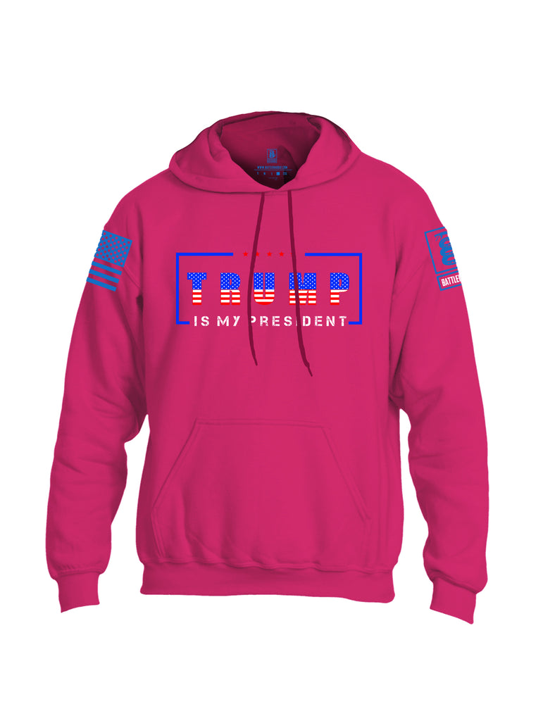 Battleraddle Trump Is My President Blue Sleeve Print Mens Blended Hoodie With Pockets