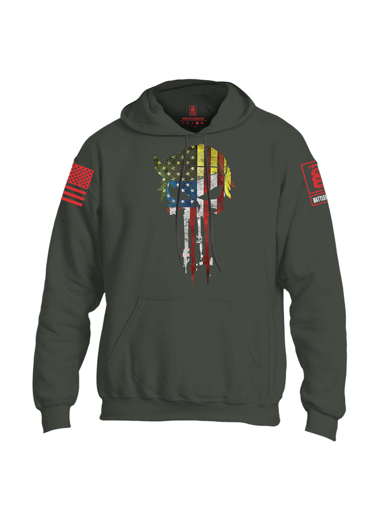 Battleraddle Trump Punisher USA Flag Red Sleeve Print Mens Blended Hoodie With Pockets
