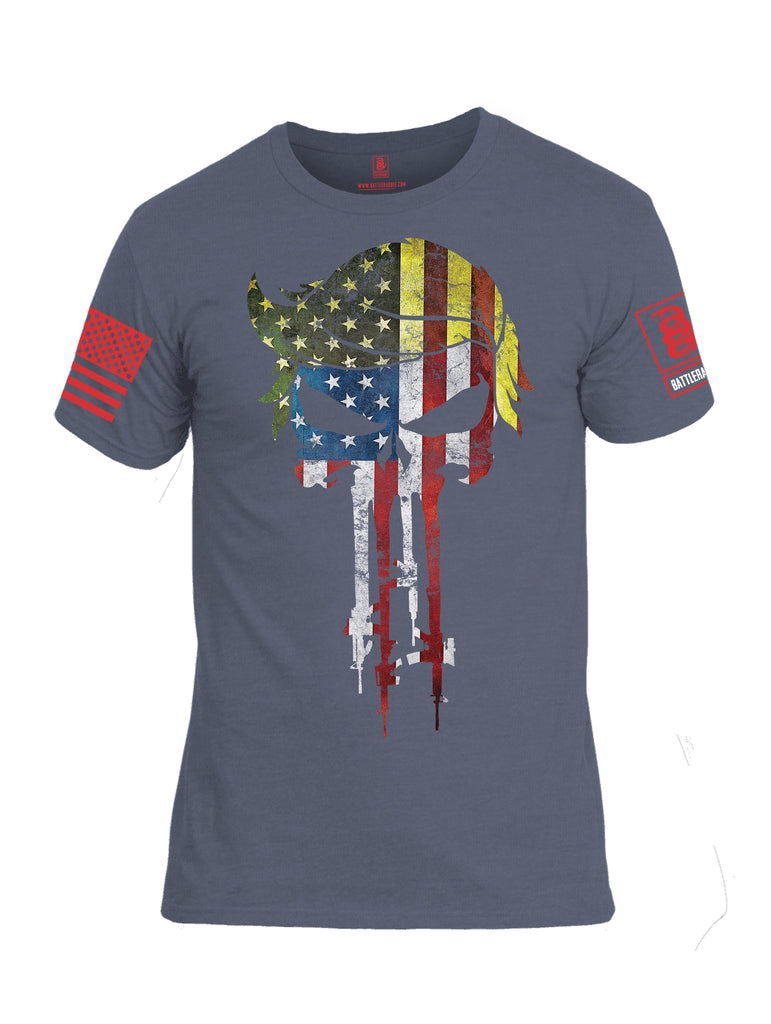 Battleraddle Trump Punisher USA Flag Red Sleeve Print Mens Cotton Crew Neck T Shirt