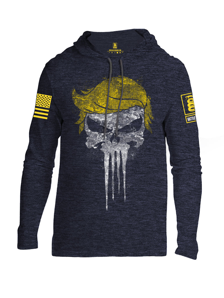 Battleraddle Trump Punisher Yellow Sleeve Print Mens Thin Cotton Lightweight Hoodie