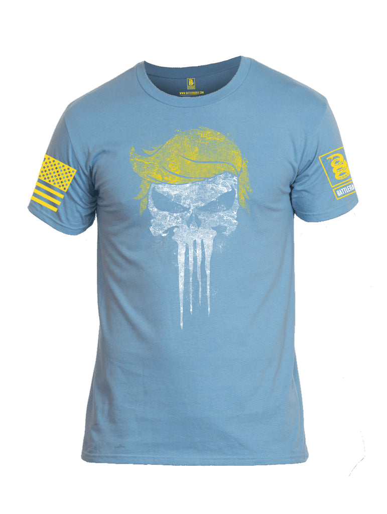 Battleraddle Trump Punisher Yellow Sleeve Print Mens Cotton Crew Neck T Shirt