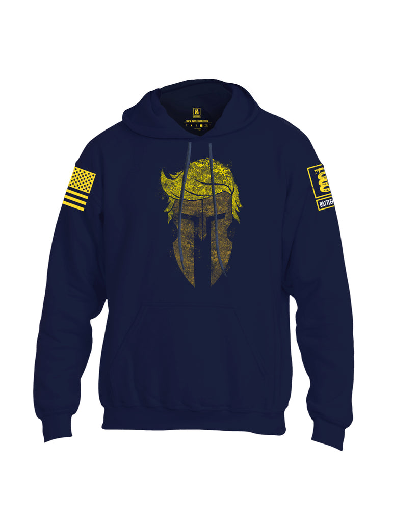Battleraddle Trump Spartan Helm Yellow Sleeve Print Mens Blended Hoodie With Pockets