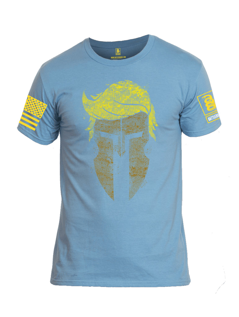 Battleraddle Trump Spartan Helm Yellow Sleeve Print Mens Cotton Crew Neck T Shirt