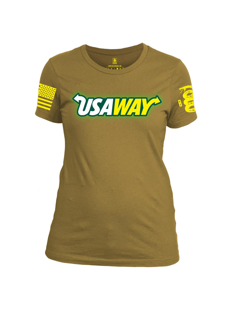 Battleraddle USAWAY Yellow Sleeve Print Womens Cotton Crew Neck T Shirt
