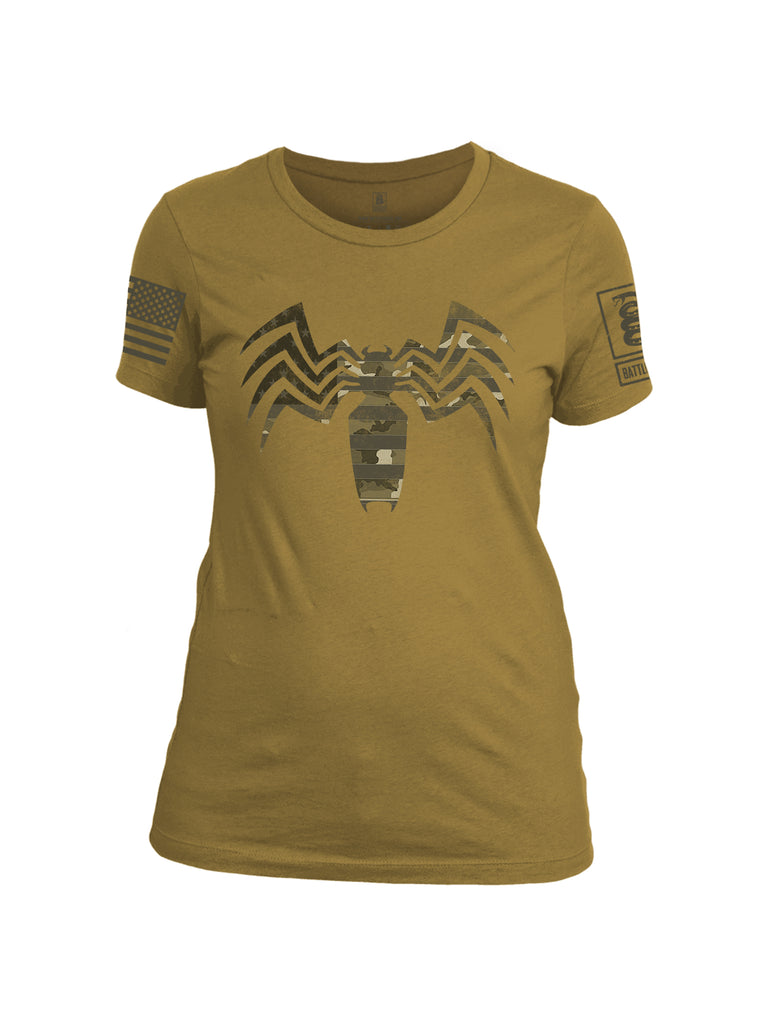 Battleraddle Venomize Camo Dark Brown Sleeve Print Womens Cotton Crew Neck T Shirt