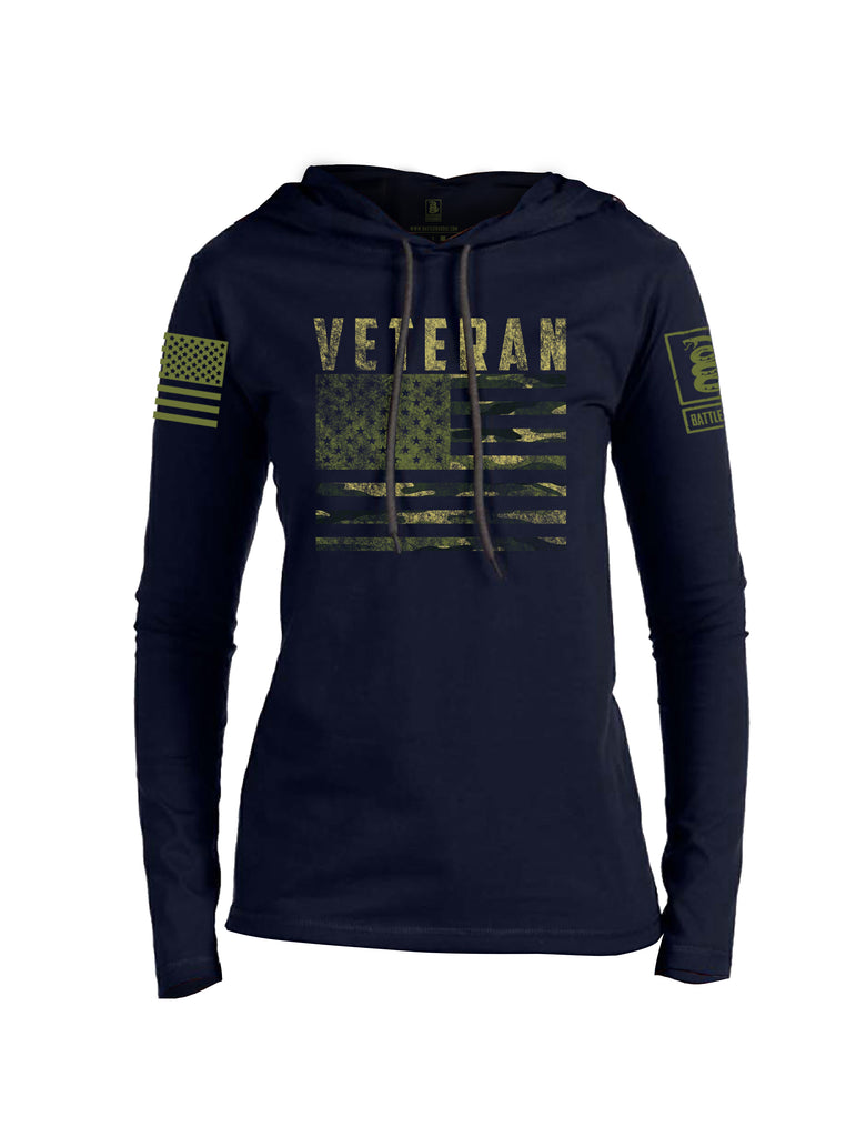 Battleraddle Veteran Camo Flag Dark Green Sleeve Print Womens Thin Cotton Lightweight Hoodie