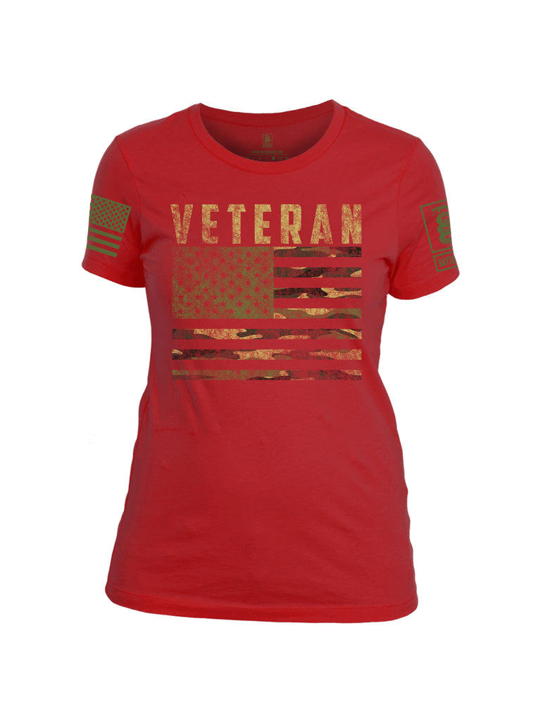 Battleraddle Veteran Camo Flag Dark Green Sleeve Print Womens Cotton Crew Neck T Shirt