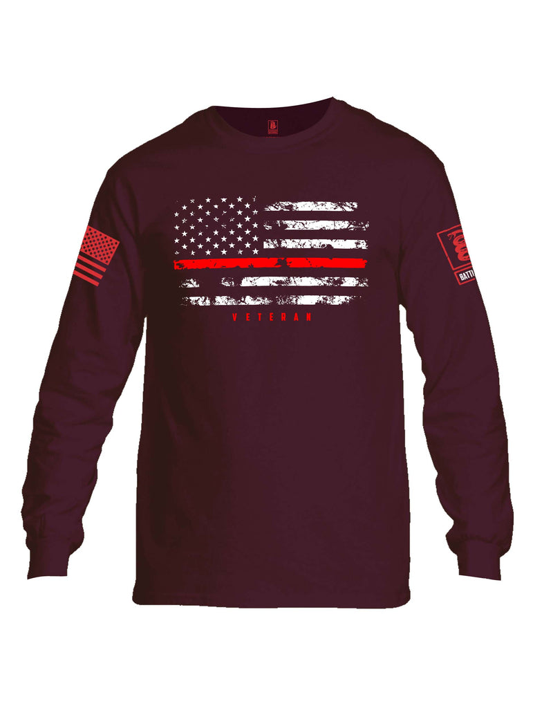Battleraddle American Flag Red Line Veteran Red Sleeve Print Mens Cotton Long Sleeve Crew Neck T Shirt