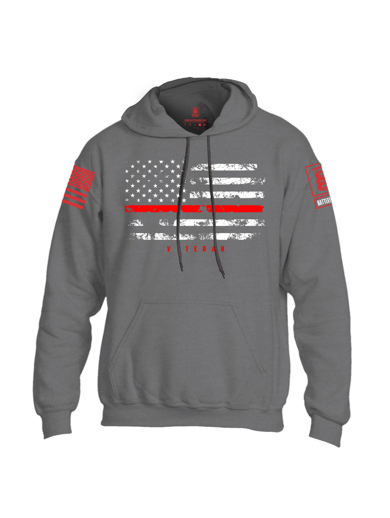 Battleraddle American Flag Red Line Veteran Mens Blended Hoodie With Pockets