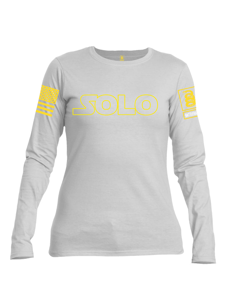 Battleraddle Solo Yellow Sleeve Print Womens Cotton Long Sleeve Crew Neck T Shirt