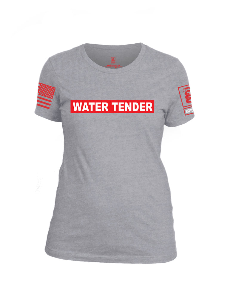 Battleraddle Water Tender Firefighter Red Sleeve Print Womens Cotton Crew Neck T Shirt