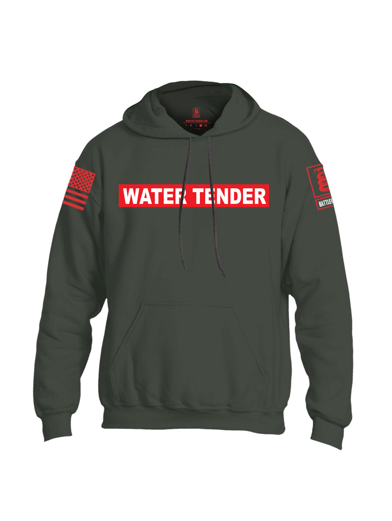 Battleraddle Water Tender Firefighter Red Sleeve Print Mens Blended Hoodie With Pockets