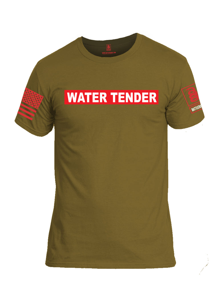 Battleraddle Water Tender Firefighter Red Sleeve Print Mens Cotton Crew Neck T Shirt