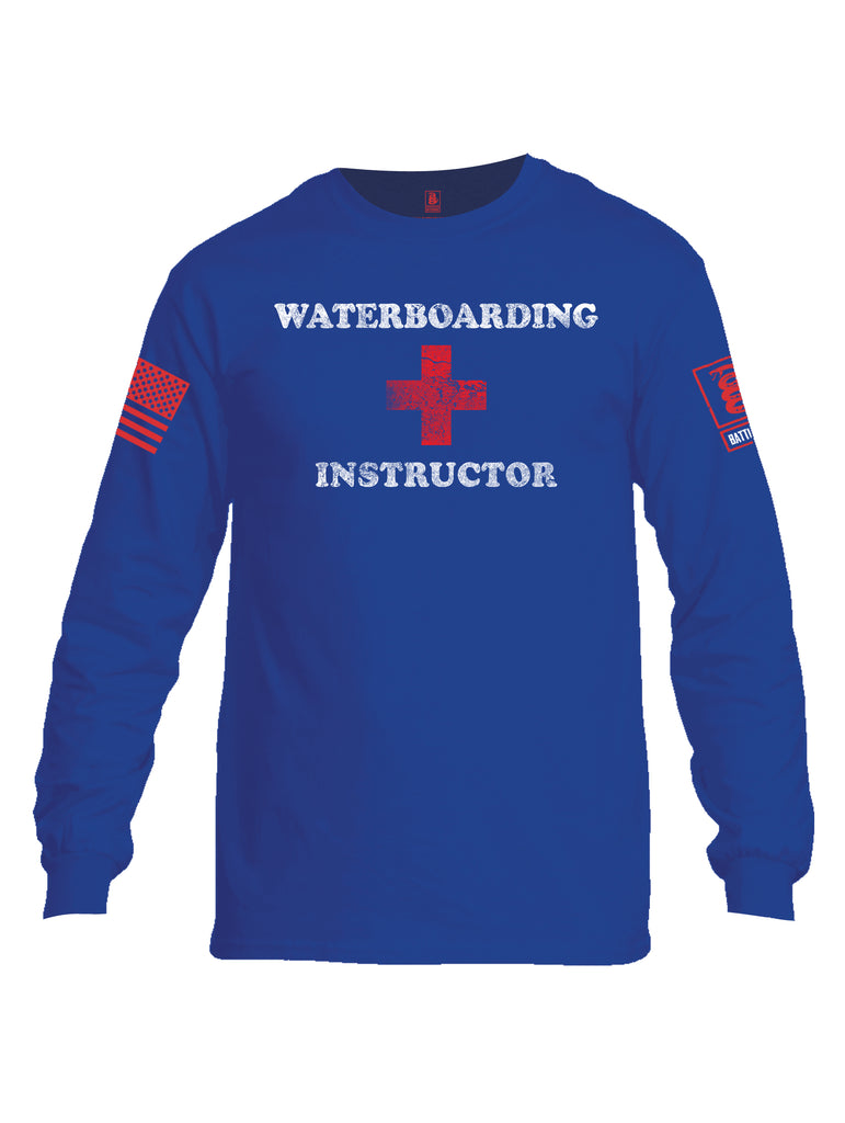 Battleraddle Waterboarding Instructor Red Sleeve Print Mens Cotton Long Sleeve Crew Neck T Shirt-Royal Blue