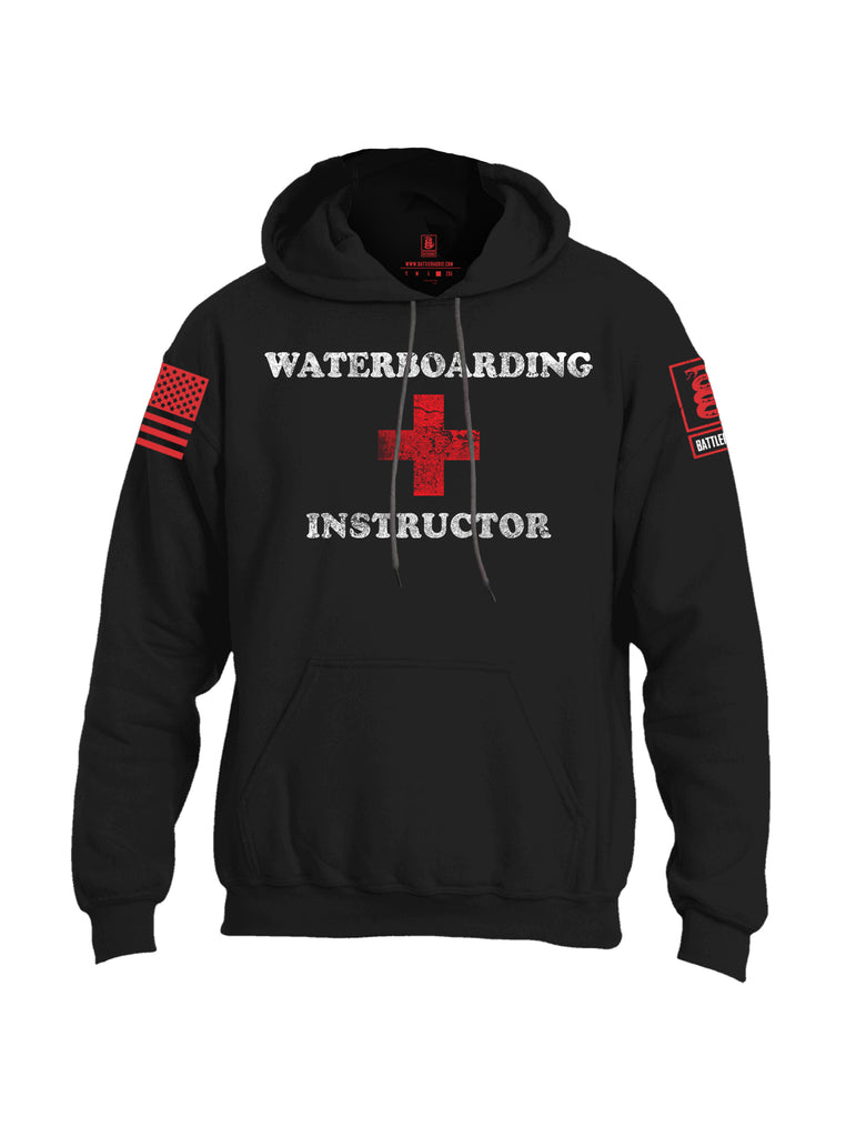 Battleraddle Waterboarding Instructor Red Sleeve Print Mens Blended Hoodie With Pockets-Black