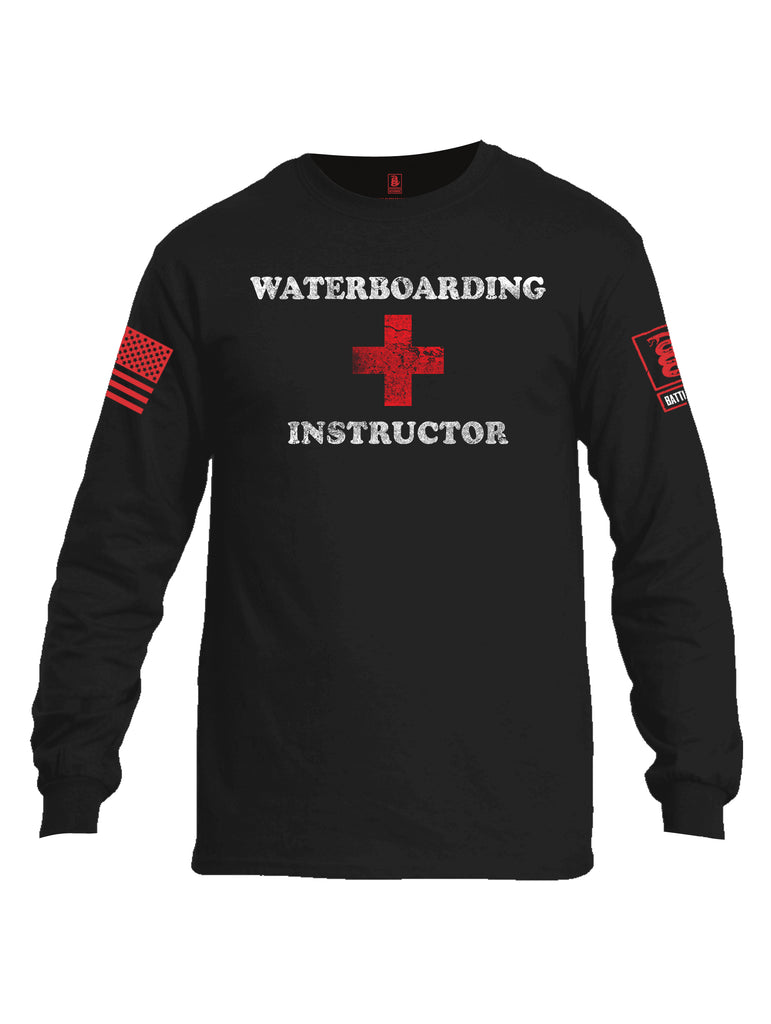 Battleraddle Waterboarding Instructor Red Sleeve Print Mens Cotton Long Sleeve Crew Neck T Shirt-Black