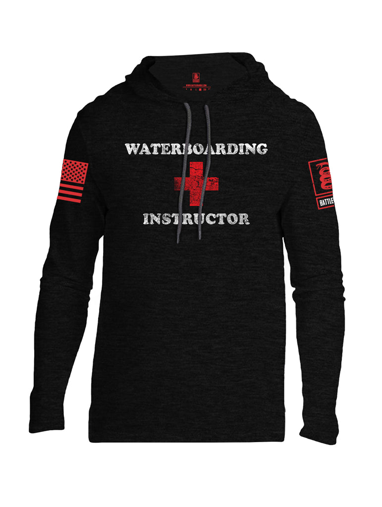 Battleraddle Waterboarding Instructor Red Sleeve Print Mens Thin Cotton Lightweight Hoodie-Black