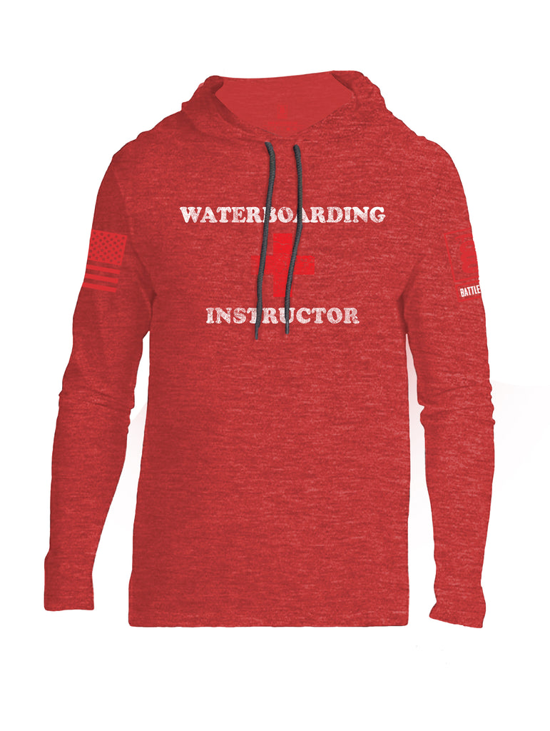 Battleraddle Waterboarding Instructor Red Sleeve Print Mens Thin Cotton Lightweight Hoodie-Red