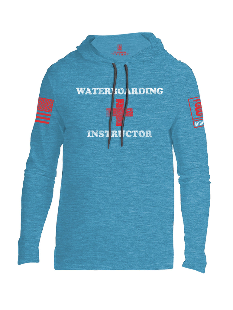Battleraddle Waterboarding Instructor Red Sleeve Print Mens Thin Cotton Lightweight Hoodie-Caribbean Blue