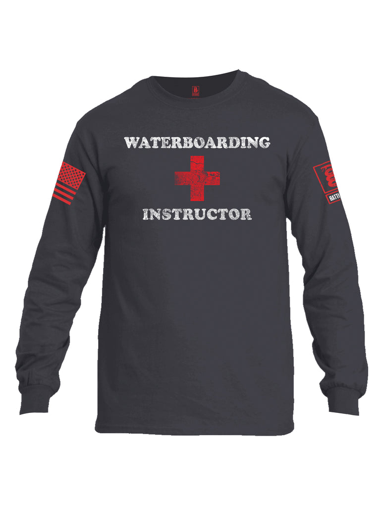 Battleraddle Waterboarding Instructor Red Sleeve Print Mens Cotton Long Sleeve Crew Neck T Shirt-Charcoal