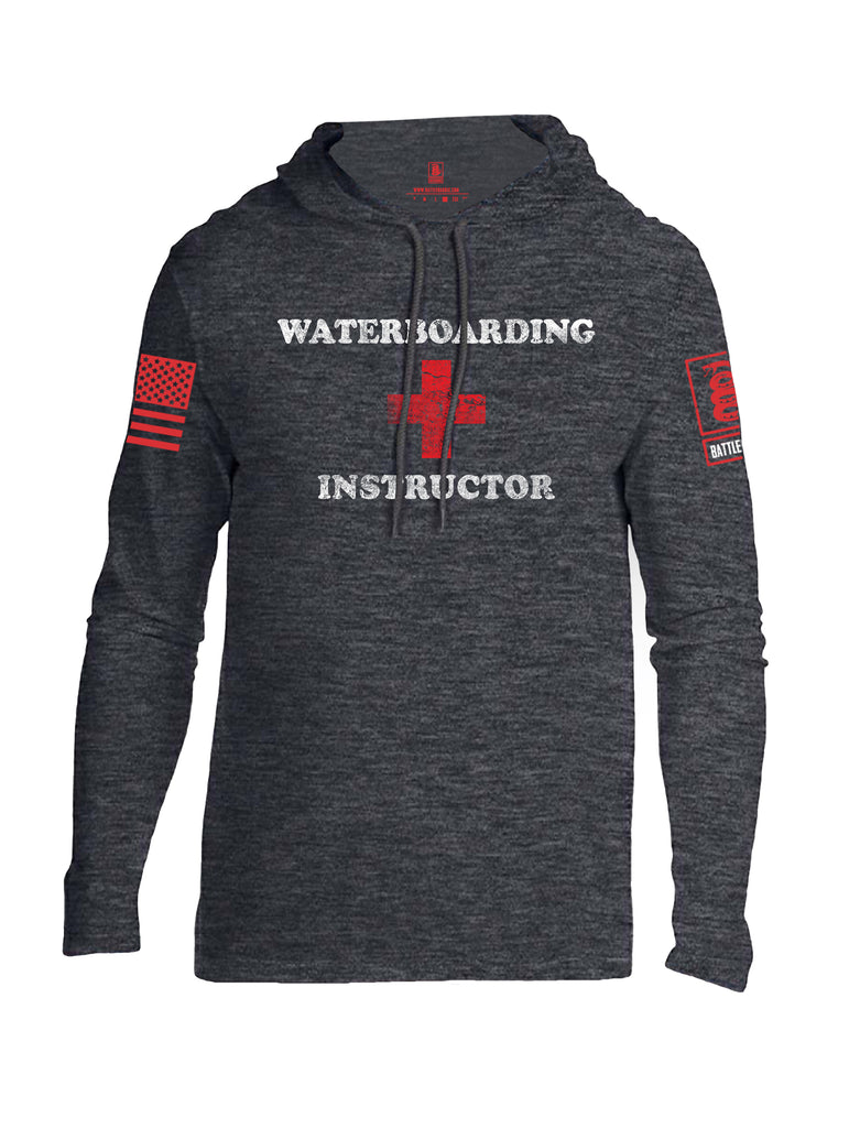 Battleraddle Waterboarding Instructor Red Sleeve Print Mens Thin Cotton Lightweight Hoodie-Heather Dark Grey