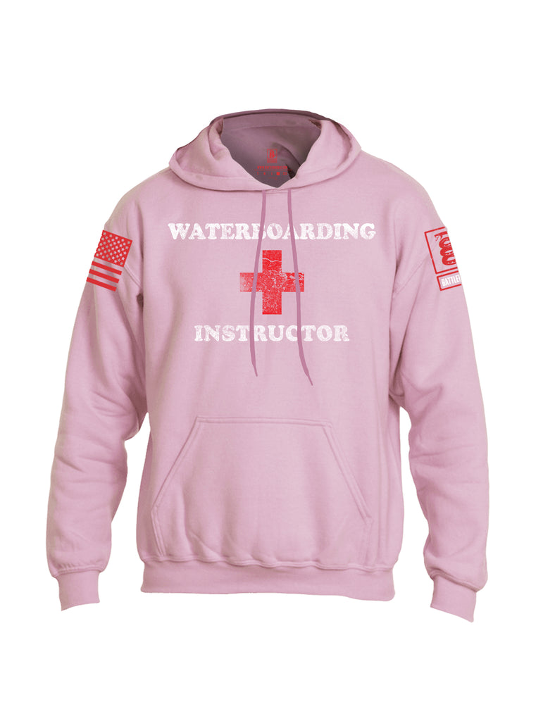 Battleraddle Waterboarding Instructor Red Sleeve Print Mens Blended Hoodie With Pockets-Light Pink