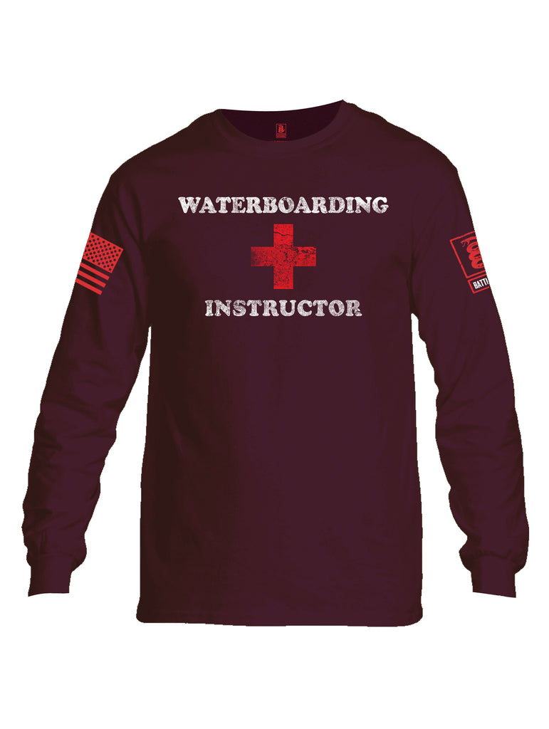 Battleraddle Waterboarding Instructor Red Sleeve Print Mens Cotton Long Sleeve Crew Neck T Shirt-Maroon