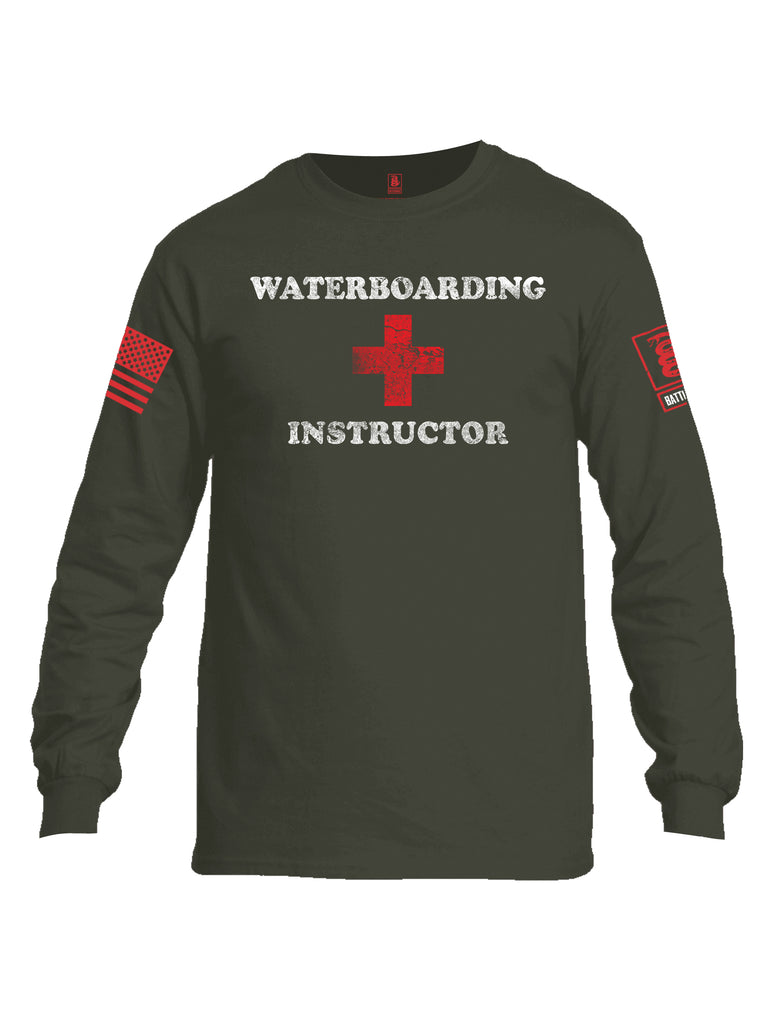 Battleraddle Waterboarding Instructor Red Sleeve Print Mens Cotton Long Sleeve Crew Neck T Shirt-Military Green