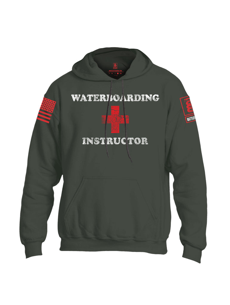 Battleraddle Waterboarding Instructor Red Sleeve Print Mens Blended Hoodie With Pockets-Military Green